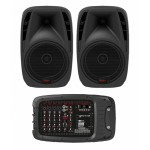 HH 2x500w Vector Series Portable PA System - 6 Channel with Bluetooth, USB, SD and DSP - VRC210